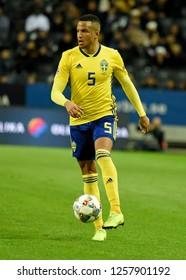Solna, Sweden - November 20, 2018. Sweden national team left back Martin Olsson during UEFA Nations League match Sweden vs Russia in Solna.