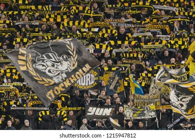 SOLNA, SWEDEN - OCT 29, 2018: AIK vs Malmo FF at the Friends arena in Stockholm. Final result 1-1