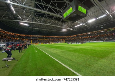 SOLNA, SWEDEN - OCT 30, 2017: The swedish national soccer arena Friends before the game between AIK and Gothenburg. Final result AIK vs IFK Goteborg 2-1