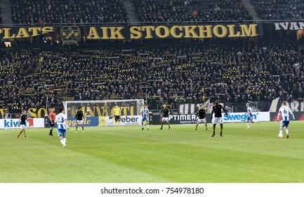 SOLNA SWEDEN - OCT 30, 2017: Soccer field Friends Arena and the soccer game between the team AIG and IFK Goteborg. October 30 2017,Solna,Sweden