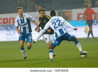 SOLNA SWEDEN - OCT 30, 2017: Soccer fotball Vajebah Sakor (IFK Goteborg) fighting hard to get the ball. October 30 2017,Solna,Sweden
