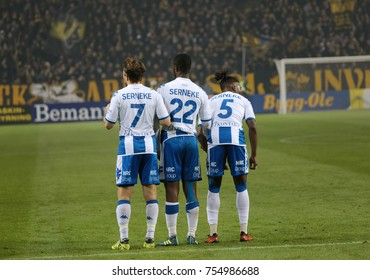 SOLNA SWEDEN - OCT 30, 2017: Soccer fotball from team IFK Goteborg formating to defence at a free kick. October 30 2017,Solna,Sweden