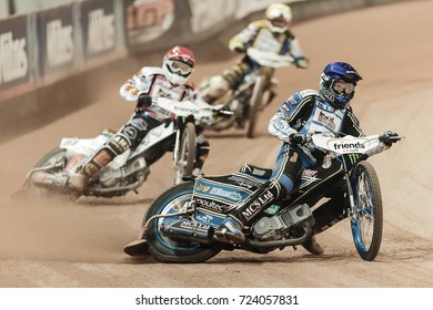 SOLNA, SWEDEN - SEPT 23, 2017: Jason Doyle (AUS) leading at Stockholm FIM Speedway Grand Prix at Friends Arena in Stockholm.