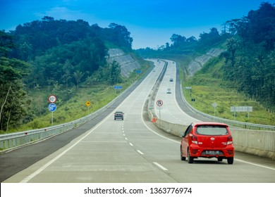 Solo, Central Java / Indonesia - Jan 20th, 2019: Driving Through Trans Java Solo Salatiga -Semarang Toll Road, Solo to Bawen Ambarawa