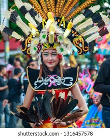 Solo, Central Java / Indonesia - June 22, 2014: Solo is known as one of the largest batik producing regions. Once a year the Solo Batik Carnival event is held with a different theme each year.