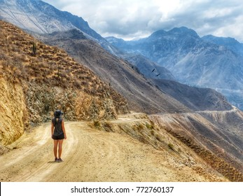 solo female blonde traveler walks along the Colca Canyon in Chivay, Peru, South America. Condors can be seen flying among the mountains in the background
