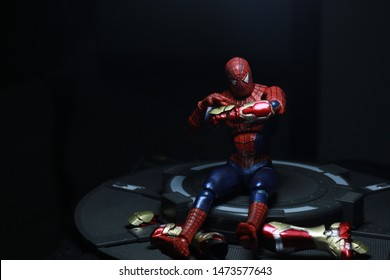 SOLO, INDONESIA - AGUSTUS 8 2019: Spiderman figure model is in 2019 style. The action figure displayed by collector for public.  Fictional character action figure Spiderman from Marvel comics.