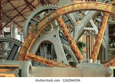 Solo, Indonesia – April 24, 2018: An old Sugar Mill Machinery, at De'Tjolomadoe Museum which loacted in Solo Downtown Area, was a sugar factory in 1861, however it is turned into educational center.