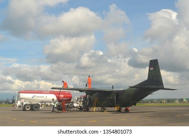 Solo Indonesia.  March 28th 2019.  Daily activities in airport,  refuel aircraft.