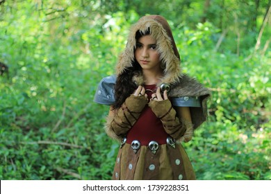 Solo, Jawa Tengah, Indonesia - February 11 2018  A viking girl wandering in the forest