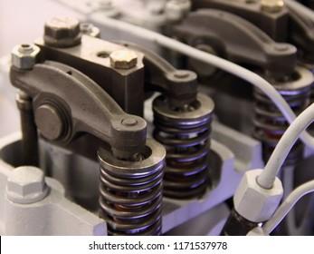 Solo overhead camshaft OHC - valve mechanism of modern car diesel engine motor close up