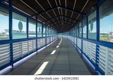Solo Skybridge or Solo Sky Bridge (SBS) in Surakarta, Indonesia. Modern Skywalk connecting two biuldings. This photo was taken on June, 10th 2019