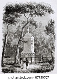 Solomon Gessner tomb in Zurich, Swiss painter and poet. Created by Girardet, published on Magasin Pittoresque, Paris, 1844