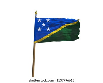 Solomon Islands flag Isolated Silk waving flag of Solomon Islands made transparent fabric with wooden flagpole golden spear on white background isolate real photo Flags world countries 3d illustration
