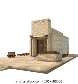Solomons Temple on white. 3D illustration