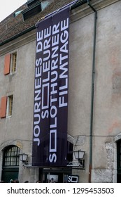 Solothurn / SOLOTHURN - Switzerland, January 26, 2019: Banner from the movie festival in Switzerland, Solothurner Filmtage