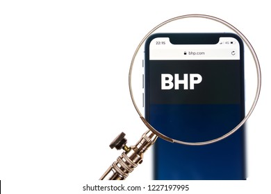SOLOTHURN, SWITZERLAND - NOVEMBER 11, 2018: BHP logo displayed on a modern smartphone