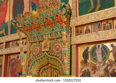SOLOVKI, REPUBLIC OF KARELIA, RUSSIA - JUNE 27, 2018: Interior of the Transfiguration Cathedral of the Spaso-Preobrazhensky Solovetsky Monastery. Russia, Arkhangelsk region, Primorsky district