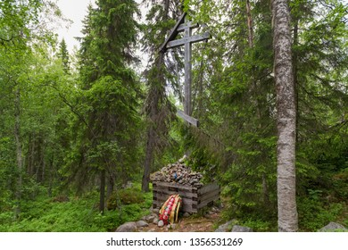 SOLOVKI, REPUBLIC OF KARELIA, RUSSIA - JUNE 27, 2018: Memorial cross in the Holy Ascension skete under the Sekirnaya mountain. The Solovetsky Monastery. Solovki Islands, Arkhangelsk region, White Sea