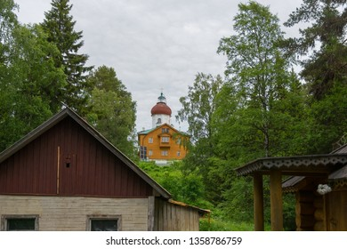 SOLOVKI, REPUBLIC OF KARELIA, RUSSIA - JUNE 27, 2018: Ascension church-lighthouse on Sekirnaya mountain on in the Holy Ascension skete. The Solovetsky Monastery. Solovki Islands, Arkhangelsk region