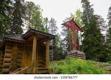 SOLOVKI, REPUBLIC OF KARELIA, RUSSIA - JUNE 27, 2018: Memorial cross in the Holy Ascension skete on Sekirnaya mountain. The Solovetsky Monastery. Solovki Islands, Arkhangelsk region, White Sea