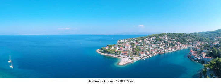 Solta island beach and fisherman cost aerial view in Dalmatia, Croatia south to Split in the central Dalmatian archipelago.