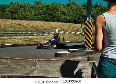 Soltau, Germany - August, 2018: GoKart on a track in a theme park in Germany