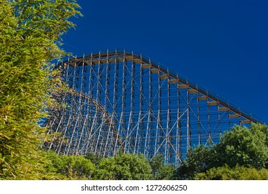 Soltau, Germany - August, 2018: Roller coaster in a theme park in Germany Colossus under repair for the new season starting 2019