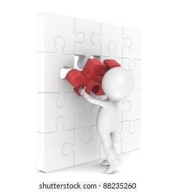 Solution. 3d little human character with a Placing the last Piece of a Jigsaw Puzzle. Red.