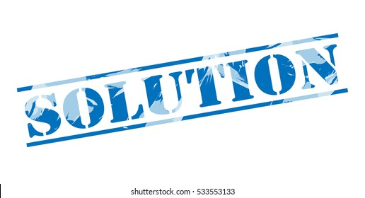 solution blue stamp on white background