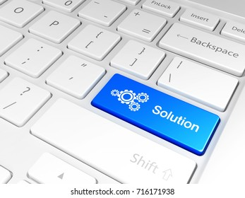 'Solution' button and the keyboard 3D illustration, 3D rendering