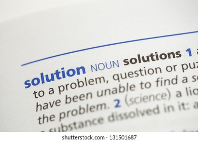 Solution definition in the dictionary