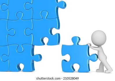 Solution. The Dude putting last piece of massive puzzle. Blue.