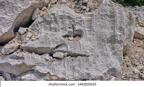 Solution flutes and bevels, decantation  flutings, karst holes on the Montenegro karst plateau, Dinaric mountain.
