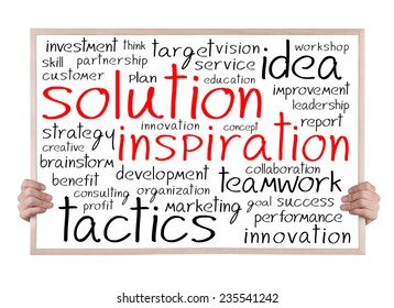solution inspiration and other related words handwritten on whiteboard with hands