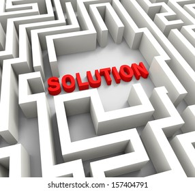 Solution In Maze Showing Puzzle Solved Or Success