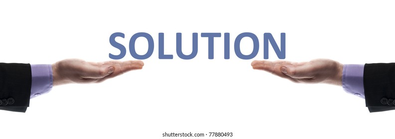 Solution message in male hands