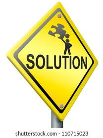 solution, problem solving concept warning sign with text and figure holding jigsaw puzzle yellow road sign with text