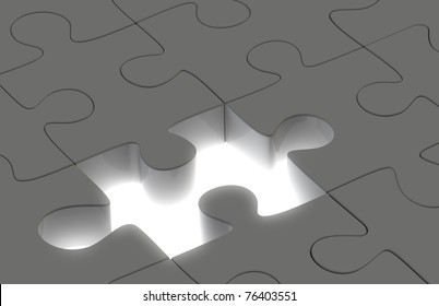 Solution. Puzzle Dark Grey and one missing piece with High luminance