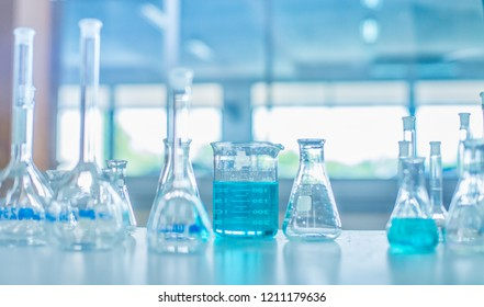 solution in science laboratory background