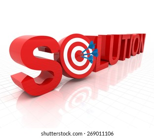 Solution with target, 3d render, white background