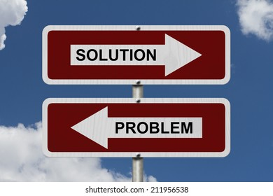 Solution versus Problem, Red and white street signs with words Solution and Problem with sky background