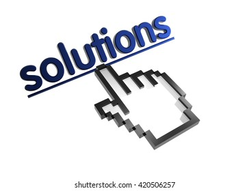 solutions. 3d rendered inscription. Link and finger, pointer. Isolated on white
