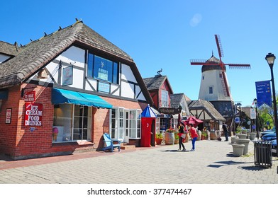 SOLVANG, CALIFORNIA, USA - APRIL 9,2014 : Solvang is a Danish village in Santa Barbara County, California. The architecture of many buildings reflects traditional Danish style.