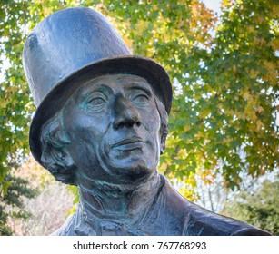 Solvang, California/USA 11-24-2017 close up of Hans Christian Andersen statue