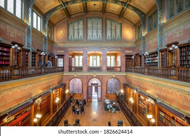 SOLVAY LIBRARY, BRUSSELS, BELGIUM 4 OCTOBER, 2020 - Interior of the Solvay Library in the Leopolds Park in Brussels, Belgium