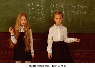 solve problem. two schoolgirls solve problem at school. solve problem at school lesson. helping each other to solve problem