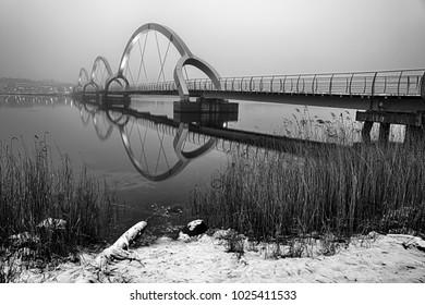 Solversborgs bridge - monochromatic landscape in winter scenery