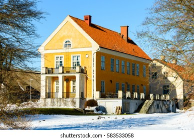 Solvesborg, Sweden - February 14, 2017: Environmental documentary of Corps de logi, Solvesborg castle. Here in winter or early spring with some snow on the ground outside.