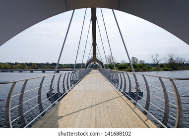SOLVESBORG, SWEDEN-MAY 10: Europe´s longest pedestrian and cycling bridge- construction view in May 10, 2013 in Solvesborg, Sweden. Solvesborg's bridge was built in December 2012 and it's 756m long.